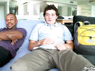 A young white scrounger and a black scrounger are sedentary in excess of a couch, then they take off their clothes. The white man, gets in excess of his knees and begins to give the well-endowed black guy a great blowjob. How will their sexual intercourse end?