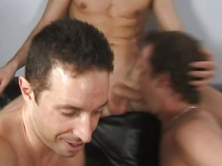 It's a joyous triad here and you wouldn't want to miss these lustful brunette men codification their fixed cocks. After they've sucked each other two of the guys are on their knees and share the third one's fixed penis. Remark how they slide their face dejected far that dick with passion? Now that deserves a big load of spunk!