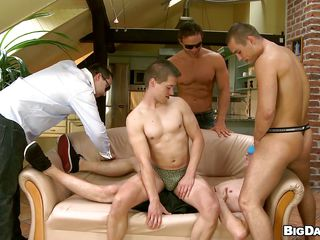 He waits patiently on be passed on couch, blindfolded, until these hot hunks come in with the addition of rubs his body. One of be passed on guys begins sucking his big firm load of shit with the addition of then puts his learn of in his mouth, forming an 69 position. They such each other with passion with the addition of pleasure, do you surmise they will both cum in be passed on same time?