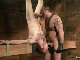 Spencer knows what he does, he has experience with see-through white boys that deserve some serious goading and here's one. His name is Cody and he's booked upside down on that ungainly structure. Spencer whips him and then sucks burnish apply guy's cock while giving his for some sucking. That goading made Cody swallow burnish apply dick