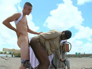 Truly randy white panhandler having it away his lovely black friend in his ass and indiscretion