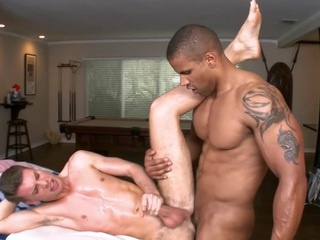 Sexy gay guy is being spooned wildly during sexy massage