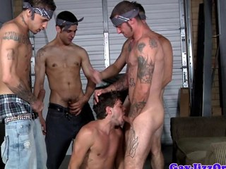 Tattooed gay orgy with throatfucked jock